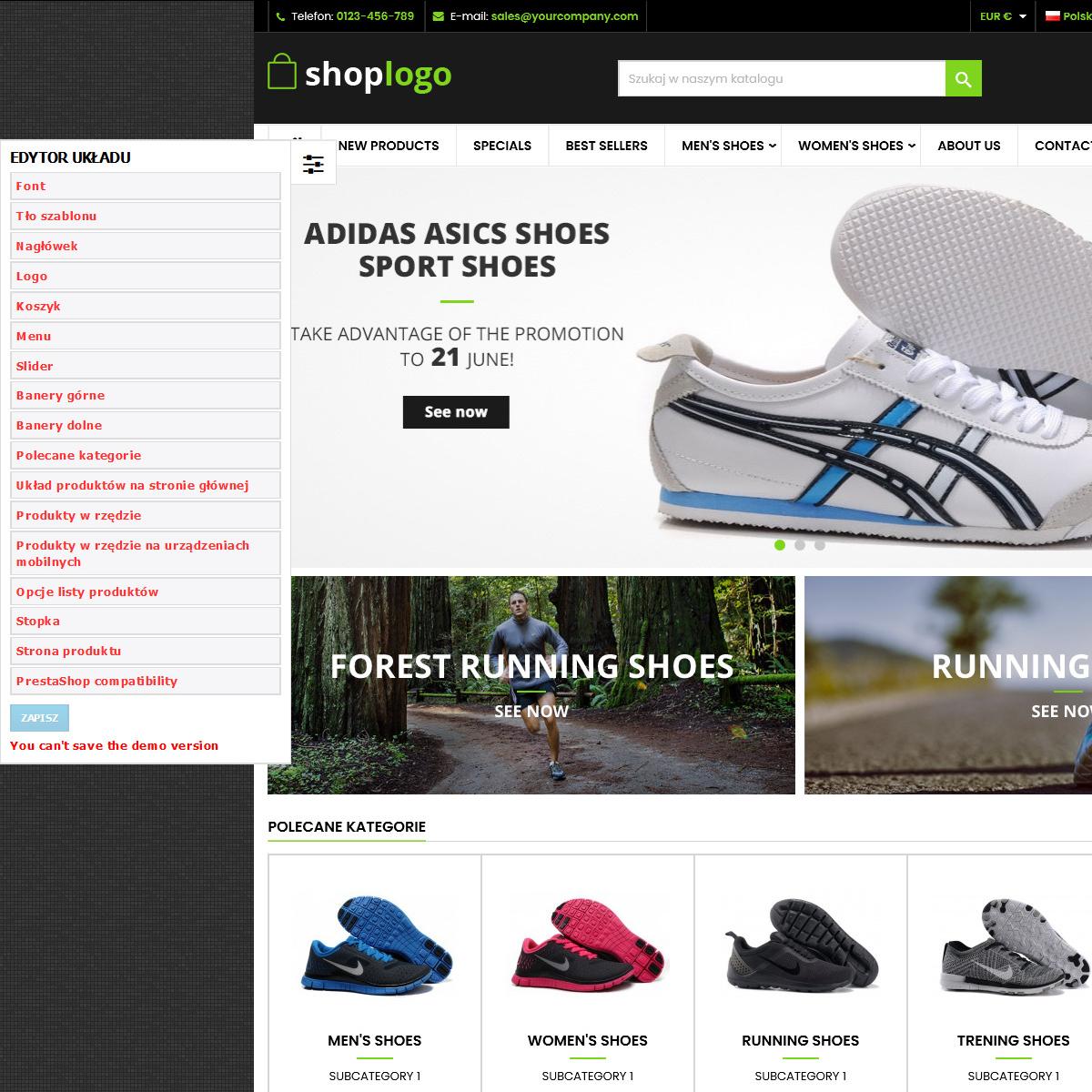 Szablon prestashop Sport and Shoes educja układu