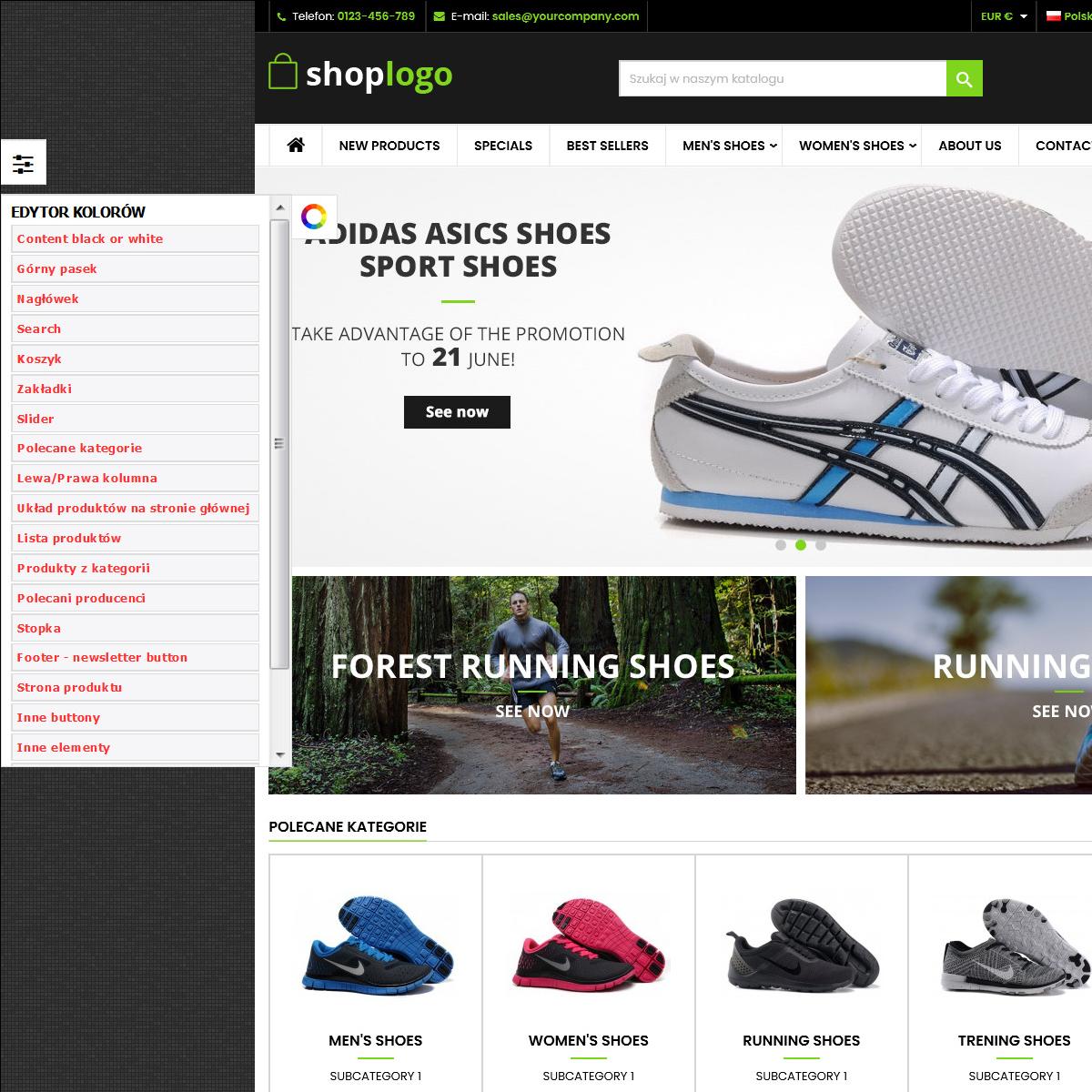Szablon prestashop Sport and Shoes edycja kolorów